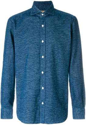 Barba denim fitted shirt