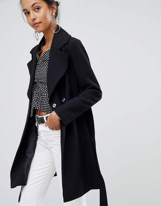 Oasis wrap front coat in black