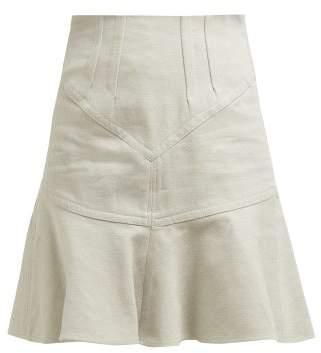 Isabel Marant Kelly Flared Cotton Blend Skirt - Womens - Beige