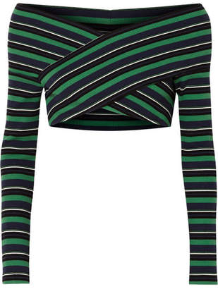 Opening Ceremony Cropped Off-the-shoulder Striped Ribbed Stretch-cotton Top - Green