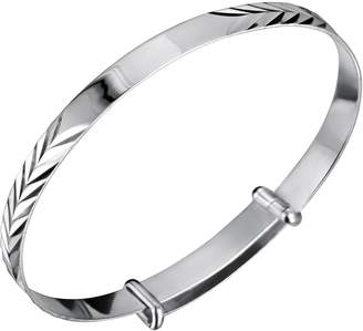 Jo for Girls Jo Expanding Sterling Silver Pattern ID Baby Bangle 45mm