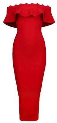 UONBOX Women's fluted Mid-Calf Off Shoulder Party Bandage Dress with Back Split (L, )