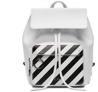 Off-White white and black diagonal stripe leather backpack