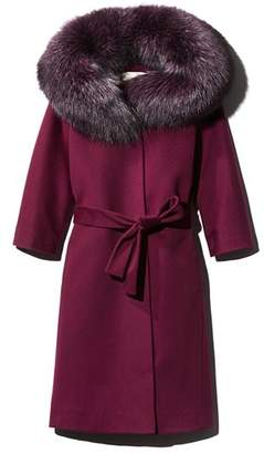 Maximilian Furs Fleurette Belted Fox Fur Collar Wool Coat