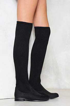 Nasty Gal Come Closer Knit Knee-High Boot