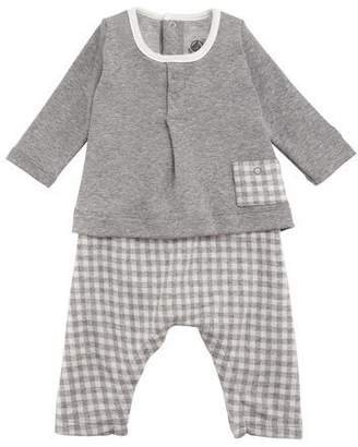 Petit Bateau Tahitian Check Pants and Solid Top Set, Baby Boy Size 1-12 Months