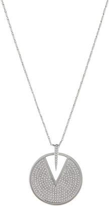 Vince Camuto Silver-Tone Pave V-Cutout Pendant Necklace