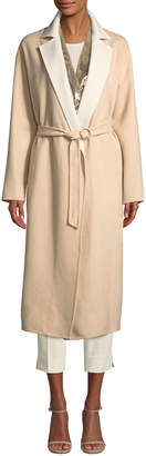 Agnona Double-faced Cashmere Mid-Length Robe Coat w/ Contrast Sequin Inlay