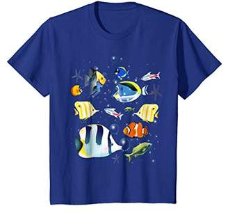 Tropical fish aquarium under ocean t-shirt