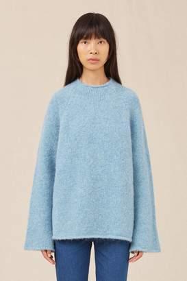 Mansur Gavriel Alpaca Wool Flared Sleeve Funnel Neck - Sky Blue