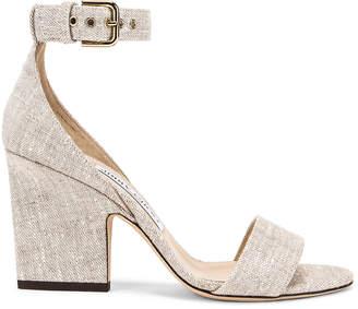 Jimmy Choo Edina 85 Linen Sandal in Natural   FWRD