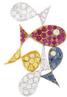 18K Diamond, Ruby & Sapphire Fish Pendant