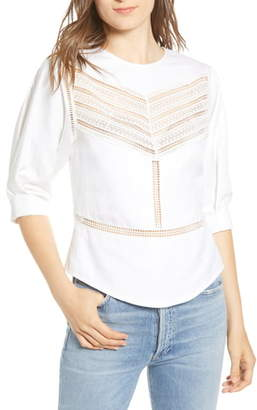 Rebecca Minkoff Lucia Lace Inset Linen & Cotton Blouse