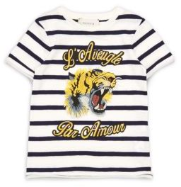 Little Girl's & Girl's Tiger-Embroidered Striped Cotton Tee $225 thestylecure.com
