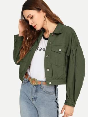 SheinShein Drop Shoulder Crop Denim Jacket