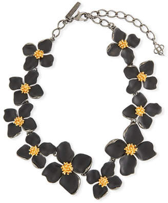 Oscar de la Renta Painted Flower Collar Necklace