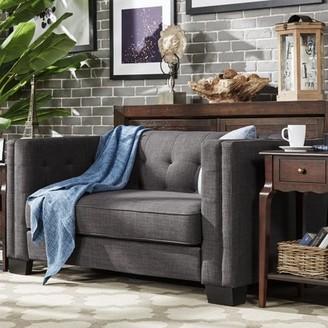 Weston Home Chelsea Lane Tufted Love Seat, Dark Gray Linen