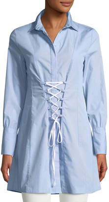 Romeo & Juliet Couture Collared Corset Lace-Up Shirt