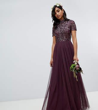 Maya high neck maxi tulle dress with tonal delicate sequins in berry