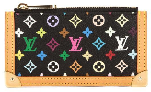 Louis VuittonLouis Vuitton Black Monogram Canvas Multicolore Pochette Cles Coin Case (Pre Owned)