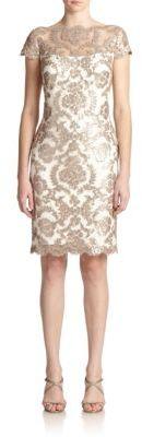 Tadashi Shoji Sequined Lace Sheath Dress $328 thestylecure.com
