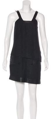 Helmut Lang Leather-Trimmed Mini Dress