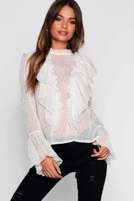 boohoo Sabrina Spot Ruffle High Neck Blouse