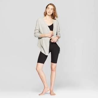 Colsie Women's Long Sleeve Waffle Button-Up Lounge Sweatshirt - Colsie Heather Gray