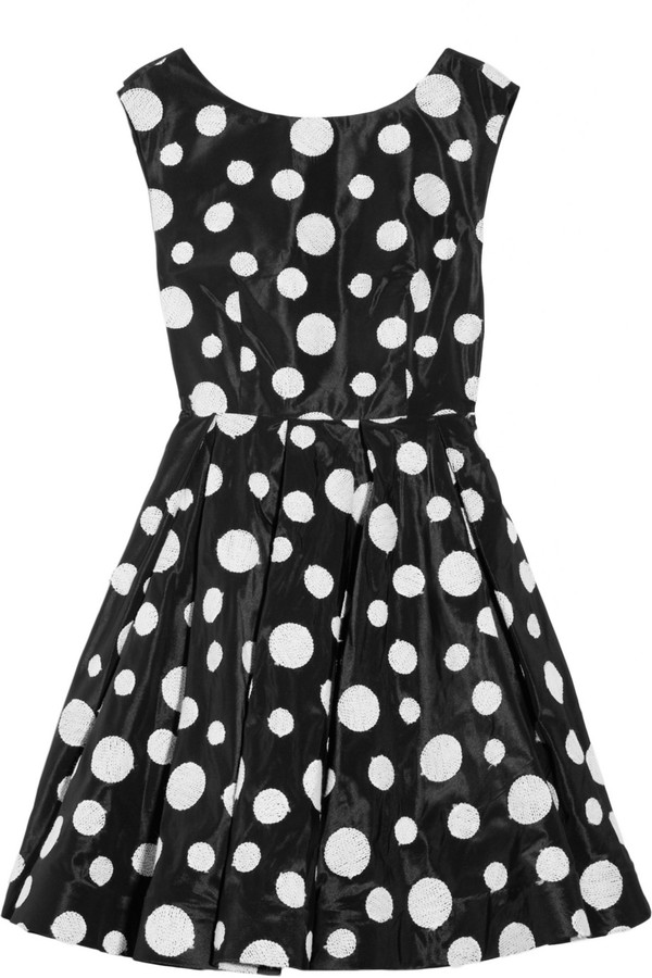 Alice + Olivia Camelia polka-dot silk-blend organza dress