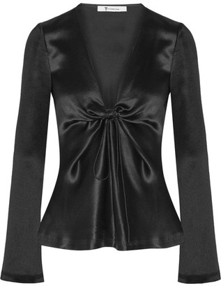 T by Alexander Wang - Knotted Hammered Silk-satin Blouse - Black $395 thestylecure.com