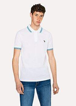 Paul Smith Men's Slim-Fit White Zebra Polo Shirt With Blue Tipping