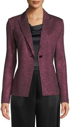 St. John Metallic Knit One-Button Jacket w/ Sequins