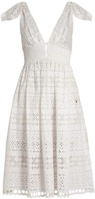 Self-Portrait Deep V-neck broderie-anglaise dress