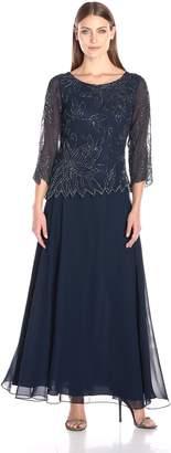 J Kara Women's Boat Neck Asymmetrical Beaded Dress