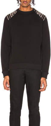 Saint Laurent Ikat Print Shoulder Crewneck Sweatshirt