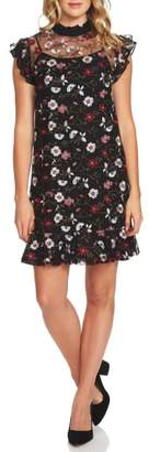 CeCe Embroidered Floral Mesh A-Line Dress