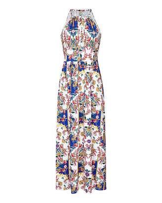 Yumi Curves Scraf Print Maxi Dress