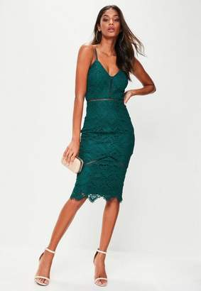 Missguided Lace Ladder Detail Midi Dress