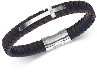 Esquire Men's Jewelry Diamond Accent Leather Cross Bracelet in Stainless Steel