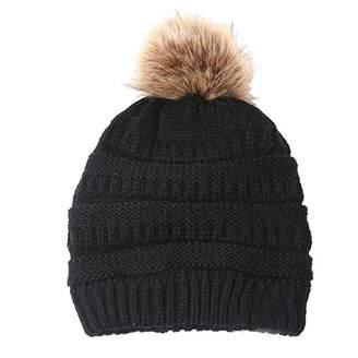 057d38033a6 Anxingo Winter Knit Hat Slouchy Beanie Hats for Women Cap Faux Fur Pompom  Crochet Knit Warm