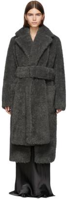 Helmut Lang Grey Faux-Fur Shaggy Belted Coat
