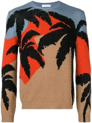 Valentino Palm colour-block sweater