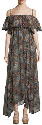 Celestina Anjuna Off-the-Shoulder Printed Maxi Dress