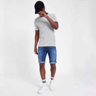 River Island Mid blue distressed Sid skinny denim shorts