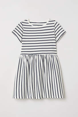 H&M Short-sleeved Jersey Dress - White