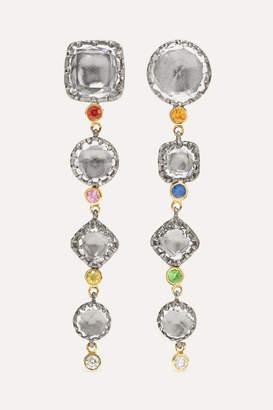 Larkspur & Hawk Sadie 14-karat Gold And Rhodium-dipped Multi-stone Earrings - one size