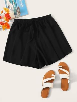 Shein Elastic Waist Knot Front Flowy Shorts