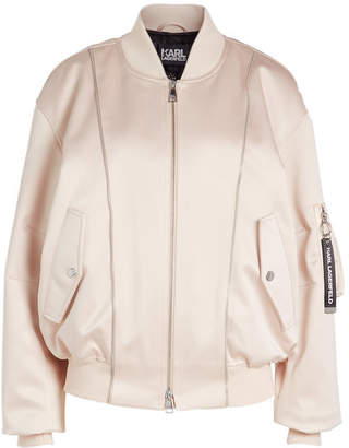 Karl Lagerfeld Satin and Mesh Bomber Jacket