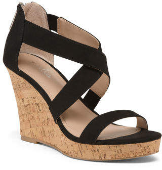 120b03f9118 Strappy Cork Wedge Heels - ShopStyle