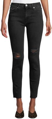 Hudson Natalie Mid-Rise Raw-Edge Ankle Jeans, Black